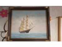 Framed Original Nautical Oil Painting Of Ship / Clipper By Y. Jones