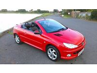 Peugeor 206CC convertible, 1.6 petrol, RED, manual, leather interior, alloy wheels long MOT
