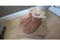 Genuine Ugg Mini Bailey Bow II Boots, Chestnut colour, size UK 5.5 (Taking Offers)
