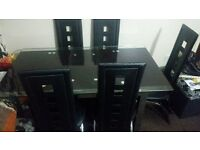 Glass dining table X 6 leatherchairs