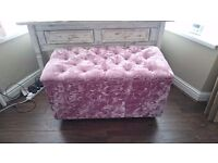 Pink crush velvet storage blanket box/ottoman with diamante studs