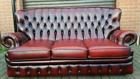 Chesterfield oxblood leather 3 seater monks sofa. EXCELLENT CONDITION! BARGAIN!