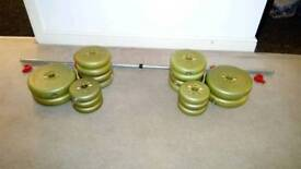43kg of weights and Barbell
