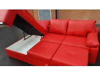 Really nice Brand New red faux leather corner sofa bed with storage.can deliver