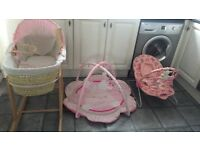 Moses basket with stand, bouncer and playmat