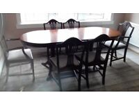 JOHN COYLE EXTENDING DINNING TABLE .6 CHAIRS AND SOFA TABLE
