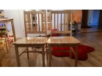 4 oak wood dining chairs