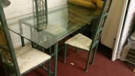 Dining Table & Chairs - Long Plain Glass and Green Metal Dining Table with 4 Chairs