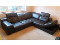 DFS Brown leather corner suite with Chaise