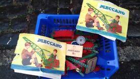 Vintage meccano with books