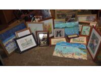 Framed Pictures x 25 + 2 x Portfolios of watercolour work + 1 mirror