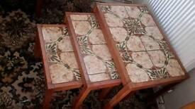 Retro chic solid teak nest of tables