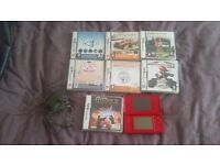 Red DS lite nintendo with games
