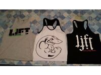 3 x brand new Bodybuilding gym tops, Gym Shark etc. size medium, unworn.