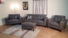 Rally grey leather 3 seater sofa, snuggler chair, standard chair and footstool