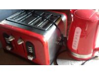 Argos Cookworks Red Kettle & Premium 4 Slice Toaster - Used - Great Condition