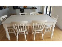 7ft x 3ft shabby chic farm house table and chairs
