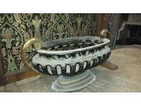 Beautiful antique cast iron and brass fire basket