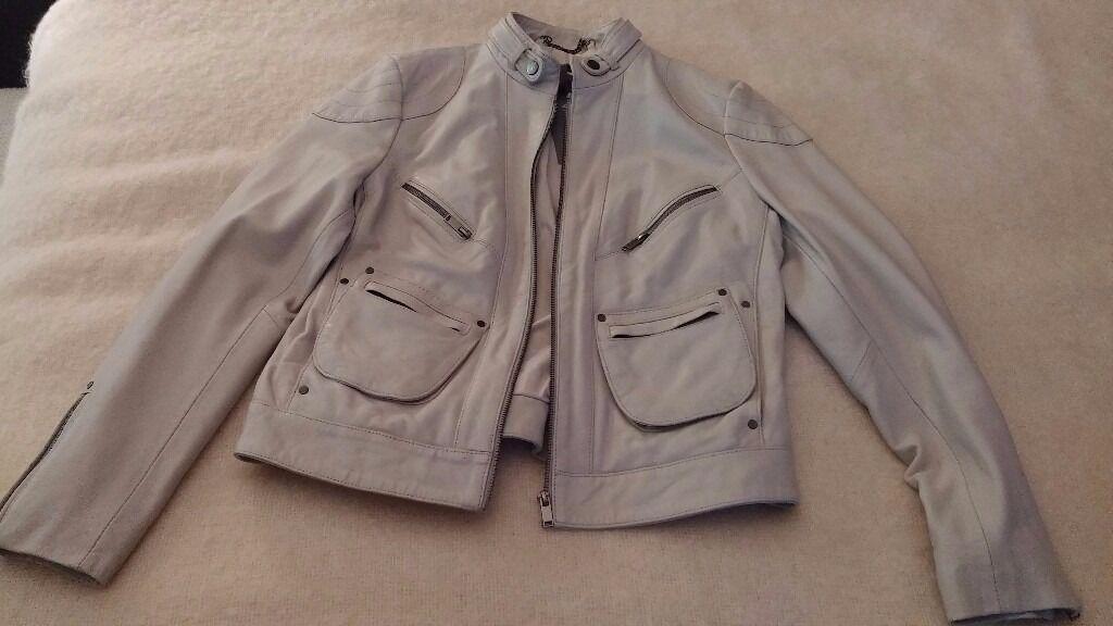 Women's Mint Velvet Cream Leather short jacket **Brand New**with ...