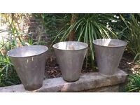 Vintage Tin Planters with pre drilled drain holes very good condition ready for summer planting...