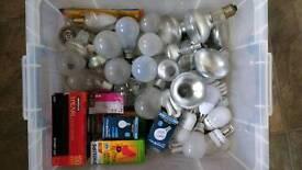 Box of assorted light bulbs