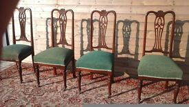A set of 4 queen ann chairs