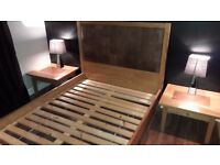 Leather Solid Oak Double Bed, 2 Oak Bed Tables, 1 Oak Chest of Drawers, was £2400 new,
