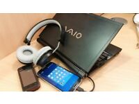 Samsung galaxy S4, Nokia xpressmusic phone, Sony ultraslim notebook, studio headphones