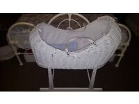 White Moses Basket with Stand, Mattress, White Lining & Cover. Collect Only from HARROW