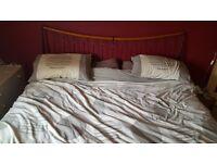 super king size metal and wood bed frame black/light oak with 4 draws
