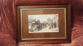 Charles Dickens' Print from The Pickwick Papers by Ludovici Oak Frame & Unusual Oak Veneer Mount