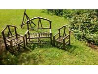Children's rustic garden chairs / benches