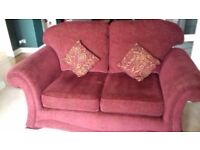 3 sofas for sale. Rich dark red wine colour. Will sell separately.