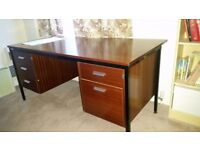 Large wooden desk with built in double pedestal