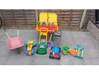 Outdoor toys - sand pit, ride on and pushalong toys