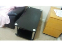 PURE CHROME BLACK GLASS COFFEE TABLE AND TV DECORATION STAND