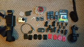 GoPro Hero 3 Black Edition with accessories and brand new batteries