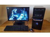 """Gaming PC, AMD Athlon 740 Quad, 4GB RAM, 500GB HDD, Nvidia GT630, 19"""" LCD, WIFI, Windows 10"""