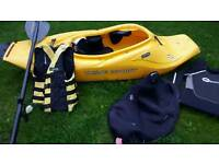 T2 wavesport transformer kayak, carbon fiber paddle, spray deck, buoyancy aid, wet suit paddle leash