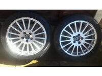 "Volvo t5 17"" alloys good condition few curb make but not major tyres"