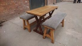 Mid height poseur table and two benches