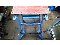 vintage black and decker small work table bench .rustic for use or as plant stand.
