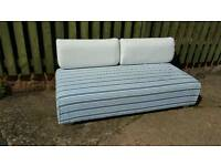 Ikea day bed couch sofa blue cream stripe
