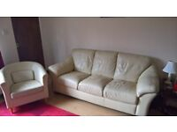 Sofa & tub chair, cream faux leather