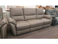 SCS Teo Grey Leather White Beading 3.5 Seater Electric Recliner Sofa