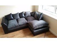 Black and Grey Right Arm Corner Sofa