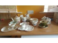 Assortment of pretty vintage china tea sets