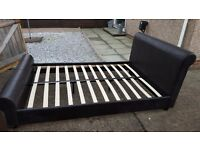 Double bed frame in dark brown leather effect