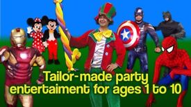 CLOWN MASCOT Childrens Entertainer SPIDERMAN MINNIE MICKEY MOUSE Balloon modeller kids hire MAGICIAN