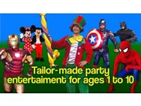 CLOWN MASCOT Childrens Entertainer SPIDERMAN MINNIE MICKEY MOUSE Balloon modeller kids hire MAGICIAN